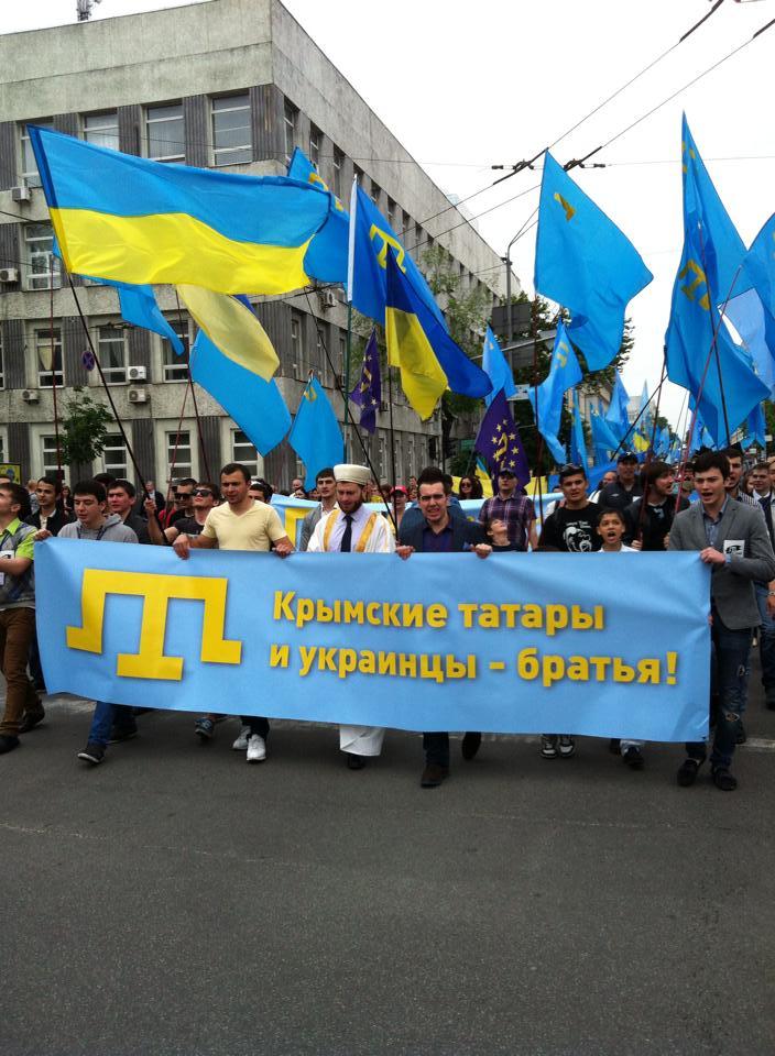 Krimtatarerne demonstrer i Kijev efter den russiske annektering af Krim Foto: Sergey Koshman