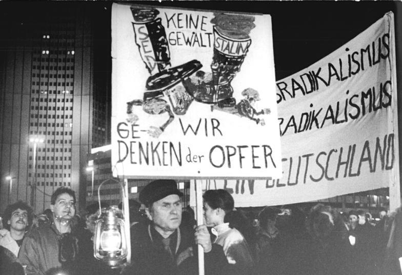 En demonstration i Leipzig i oktober 1989 Foto: Det Tyske Forbundsarkiv
