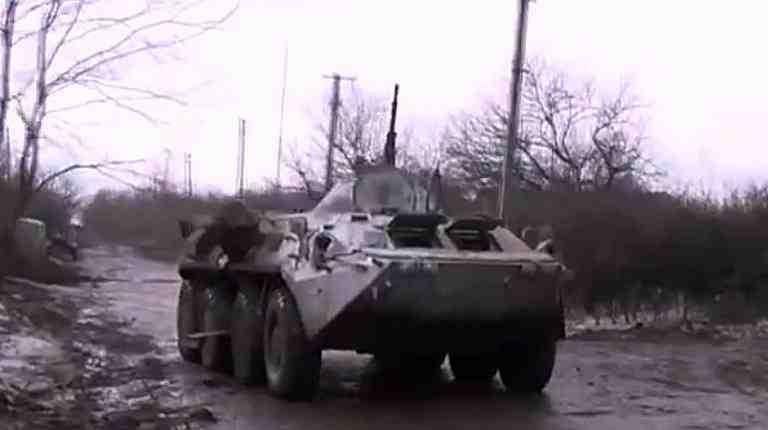 Et af oprørernes panserede køretøjer ved Snizne  Foto: Donbas