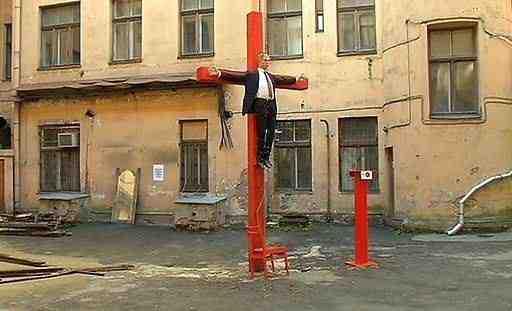 Den korsfæstede Putin i Riga  Foto: Euromaidan