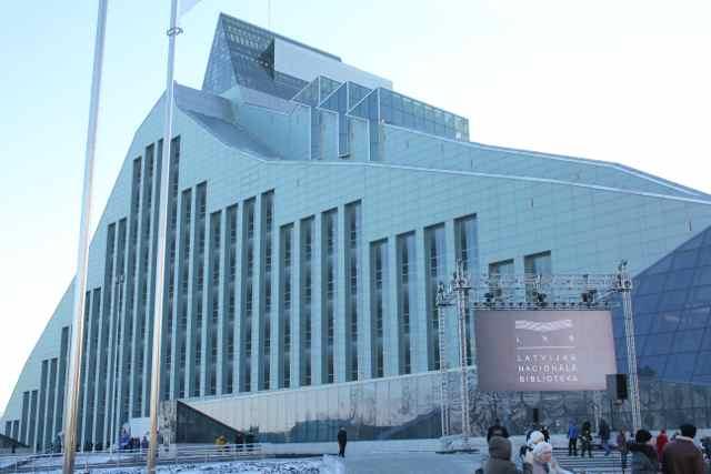 Letlands Nationalbibliotek i Riga er et af stederne, hvor EU summit foregår  Foto: Ota Tiefenböck