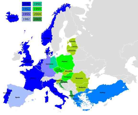 Nato lande og året for deres medlemskab af Alliancen  Foto: Kpalion.