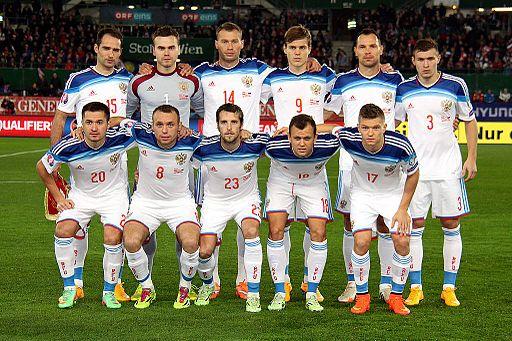 Ruslands landshold her før en kvalifikationskamp i EM 2016 mod Østrig Foto: Steindy