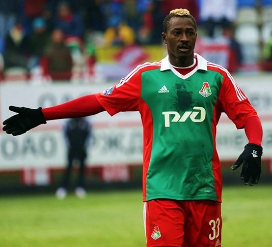 Dame N'Doye i kamp for Lokomotiv Moskva i 2014. Foto: Елена Рыбакова