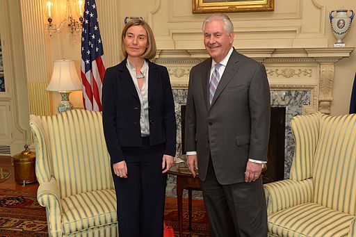 Rex Tillerson og Federica Mogherini ved møde i Washington. Foto: U.S. Department of State